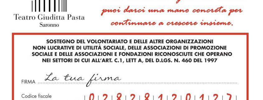 Dona il tuo 5x1000 al Teatro Giuditta Pasta di Saronno